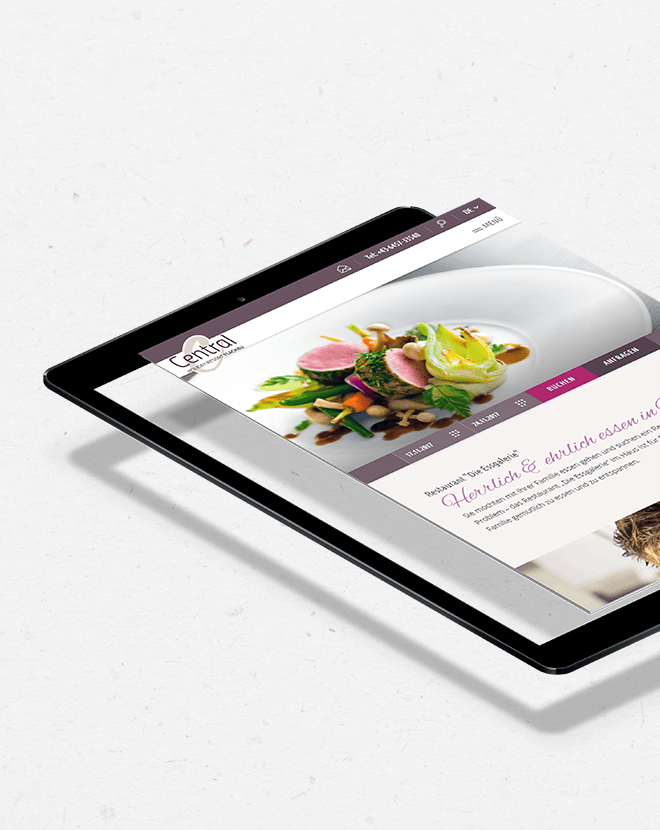 Tablet Darstellung Responsive Website Hotel Central